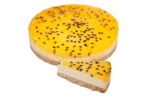 Baked Passionfruit Cheesecake 10 Inch/25cm Round Made with Australian cream cheese, baked on a biscuit base, delicious passionfruit folded through rich cheese mix and baked to perfection, topped with a shiny passionfruit glaze.