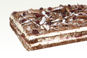 Blackforest Gateau Tray 30cm x 40cm Layers of moist dark chocolate sponge and fresh Australian whipped cream and succulent dark cherries. Available in a Slab 30cm x 40cm 2.75kg.