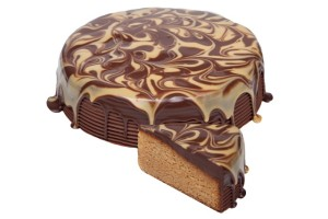 Caramel Mud Cake A delicious rich caramel mud cake topped with a dark chocolate and caramel ganache.