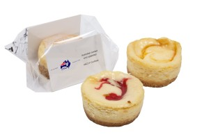 Individual baked cheesecakes, available in 3 flavours - New York, Strawberry and Passionfruit. Individually wrapped for your convenience.